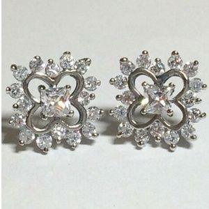 Sterling Silver Flower Earrings Vintage Style Post